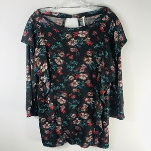Free People NWT Floral 3/4-Sleeve Ruffle Top